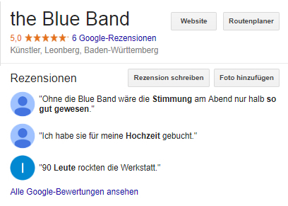 The Blue Band – Ihre flexible Eventband, Galaband, Partyband ...